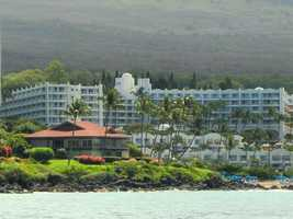 Nice shot of the hotel in Maui from the water as the group goes on a snorkeling expedition on a tour boat.