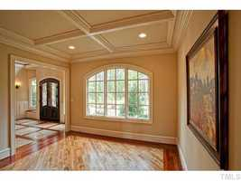 Formal Living Room with coffered ceiling