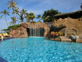The Maui hotel swimming pool looks very inviting for some relaxation.
