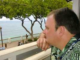 Austin's daydreaming while looking at the ocean in Lahaina. He's wondering what fish he could catch in that vast ocean!