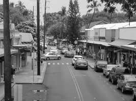 The view down the street with several shops to enjoy in Lahaina, Hawaii.