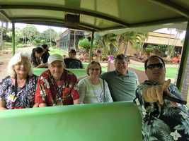 The Tropical Trams are a great way to get around and learn about the Plantation. Here's Austin with some of the Triad travelers.