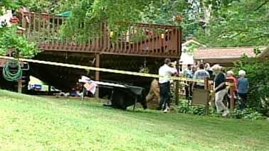 Home deck collapses in Cherryville