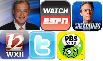 Kenny's Favorite apps:Twitter: Check Twitter from your mobile device.The Daily Show Headlines app:  Watch some of The Daily Show's best moments on your iPhone or iPad, with headlines from the past two weeks, extended interviews, a clip archive, upcoming guest news and schedule alerts.PBS Kids: Watch videos from your favorite PBS KIDS television series anytime, anywhere (in the USA).Watch ESPN: Stay connected to live sports and shows from ESPN - wherever and whenever you want them.WXII: Carry WXII 12 with you wherever you go and connect to local news.