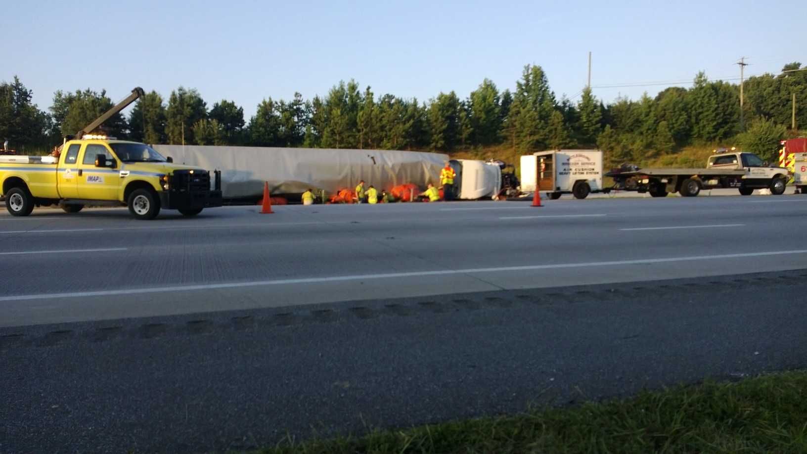 Tractor Trailer Overturns on I-85 in Greensboro