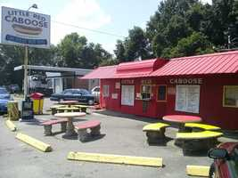 It is a real caboose! You can walk right up and order some award winning burgers and dogs!