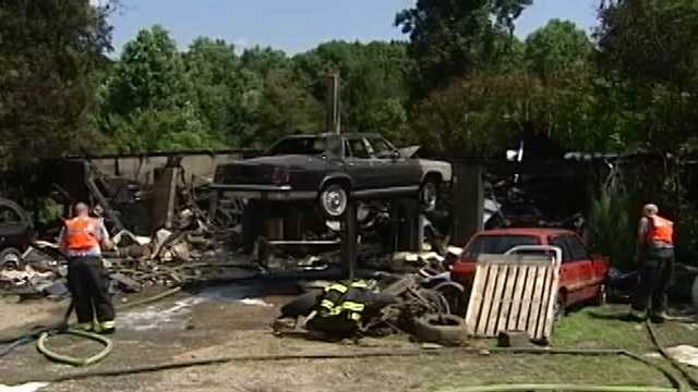 A gas tank taken off the car on the pedestal caused a catastrophic fire at a garage Friday morning.