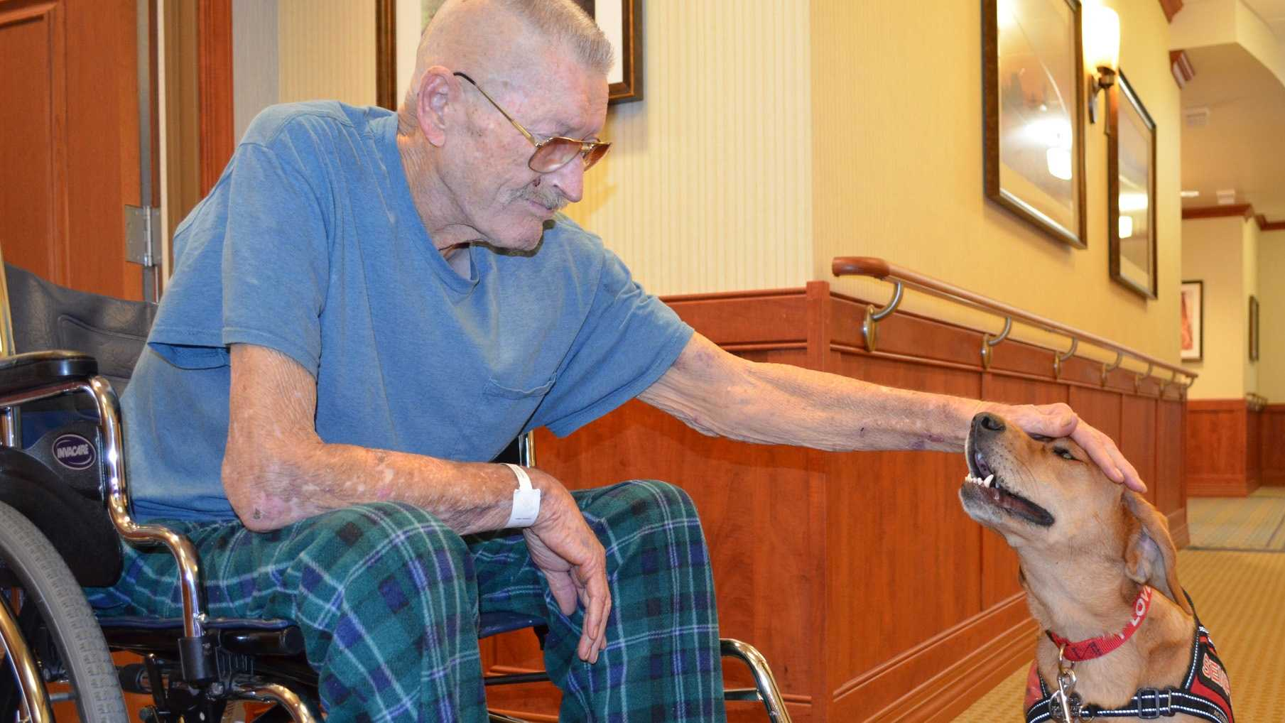 James Landers, a patient at Hospice and an Army retiree, enjoys spending a little time with Semper Fi, Salisbury VAMC Hospice therapy animal.