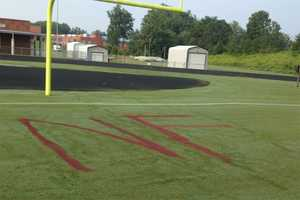 The spray paint included references to North Forsyth High School.