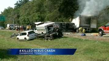 A North Carolina church bus collided with two other vehicles in northeastern Tennessee Wednesday afternoon, killing eight and injuring 14 others.
