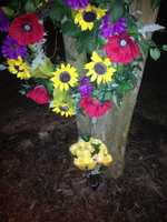 Flowers outsideFront Street Baptist Church on Thursday morning (photo by WXII's Nicole Ducouer)