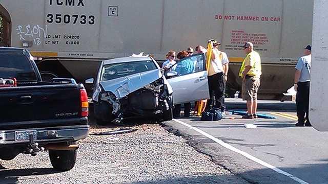 Car vs. train in Walkertown