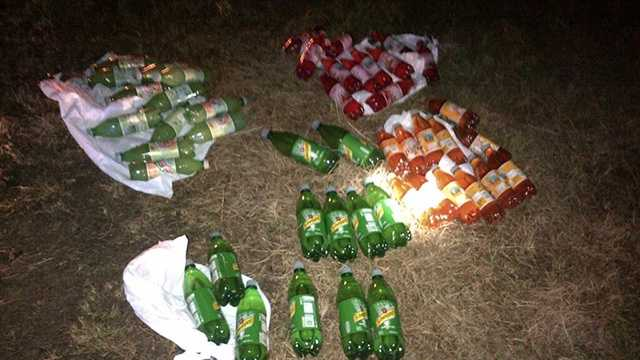 Deputies seized 47 bottles in a traffic stop Monday. The bottles tested positive for liquid meth.