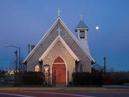 15. Trinity Episcopal Church (1896) is the oldest church building remaining in Mount Airy. It was the first granite church in the city.
