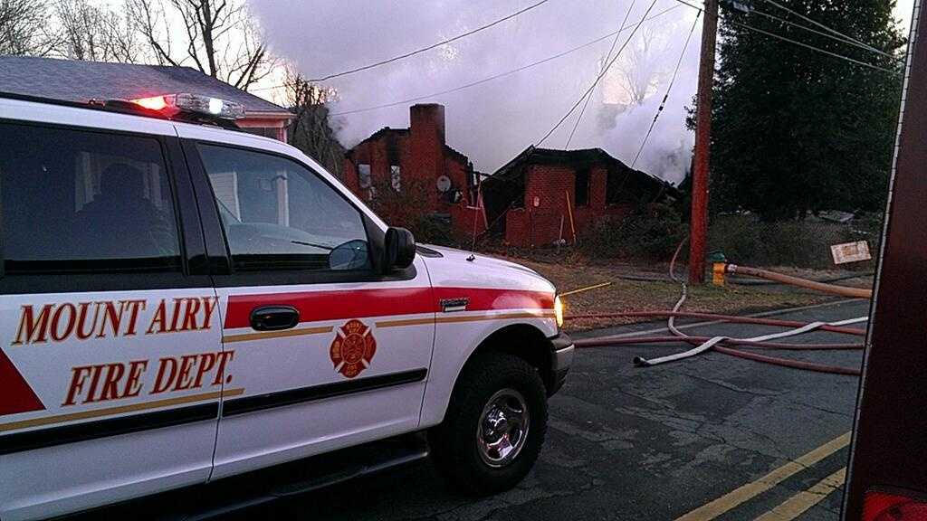 A fire destroyed a Mount Airy home early Thursday morning.