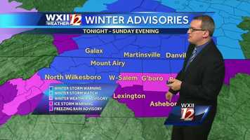 Winter storm warnings and ice storm warnings are in effect throughout the viewing area.
