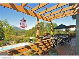 Deck with trellises and hot tub