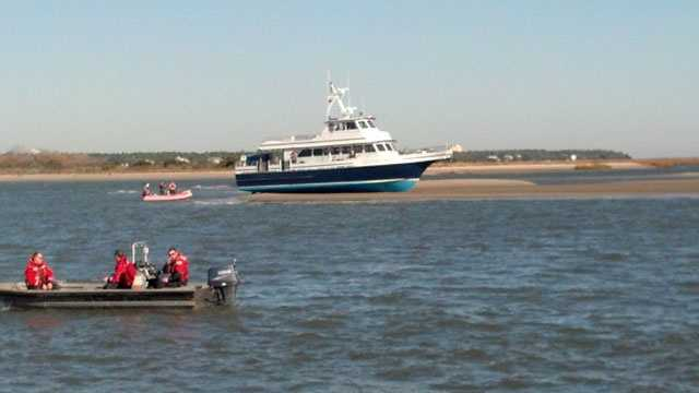 Ferry runs aground