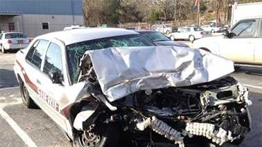 Wrecked Cumberland County Sheriff's Office vehicle