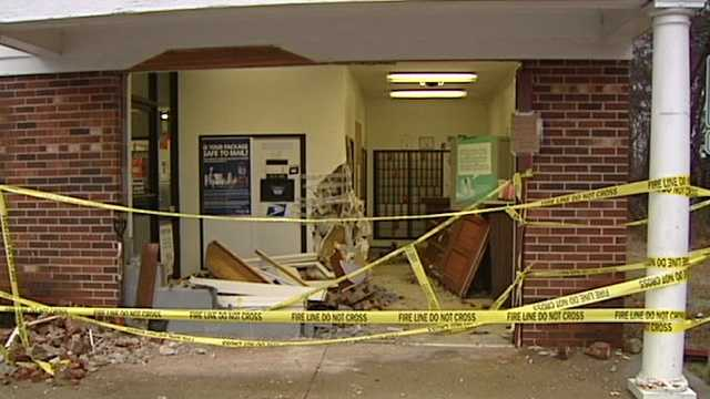The Belews Creek Post Office was damaged after a vehicle crashed into it Sunday.