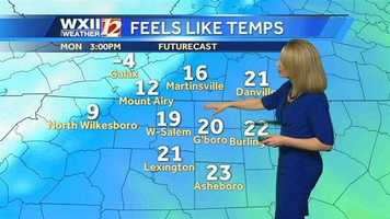"Starting at 3 p.m. Monday, here's a look at the ""feels like"" temperatures every couple of hours."