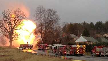 Gas explosion and fire in Buncombe County