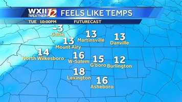 """Here are the """"feels like"""" temperatures starting Tuesday night."""
