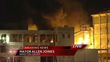 Firefighters battled a fire at the old R.J. Reynolds building on Fifth Street in Winston-Salem Thursday morning.