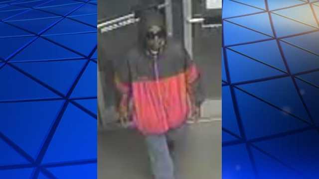 Surveillance image of Foot Locker robbery suspect