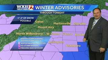 Several counties in the viewing area are under a winter storm advisory or warning today through Wednesday.