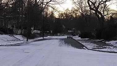 North Chapman Street in Greensboro was still slick as of sunrise Thursday.