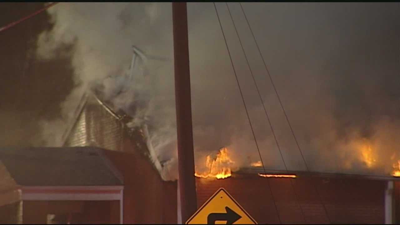 An early Saturday morning fire completely engulfed Wayside Baptist Tabernacle, leaving just a few brick walls&#x3B; WXII 12's Talitha Vickers reports from the scene.