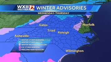 The entire WXII viewing area and most of North Carolina is under a winter weather warning. |VIDEO: Austin's forecast