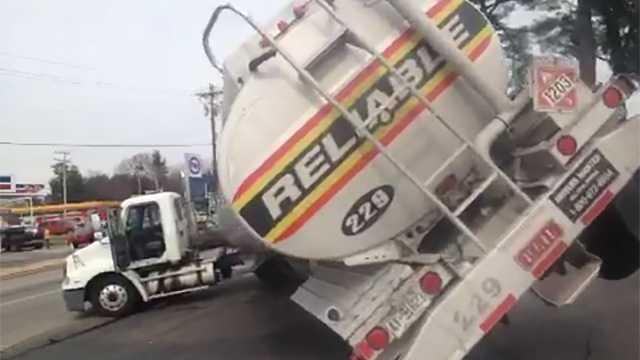 Fuel tanker jackknifes, tilts in Winston-Salem