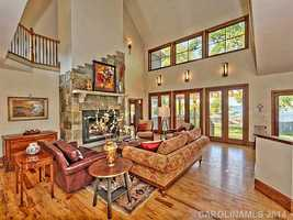 Two-story Great Room with lake views