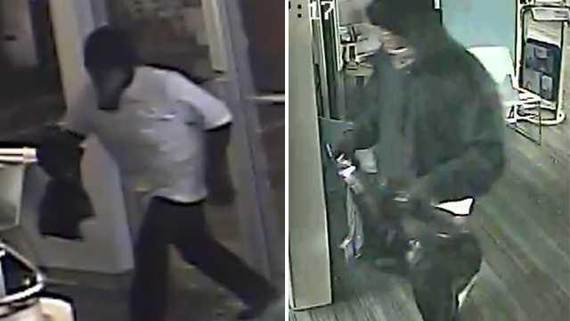 Surveillance images of Audio Plus break-in suspects