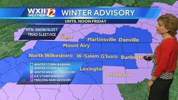 A winter storm warning for another wintry mix is in effect from Thursday night to noon Friday across most of the WXII viewing area.