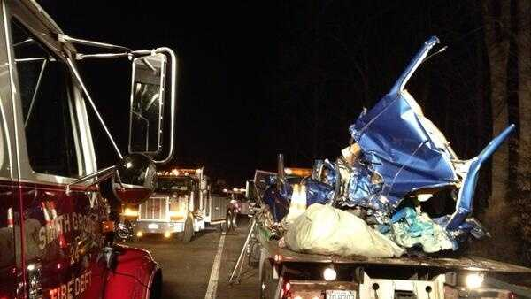 Two people were taken to the hospital after an accident between a tractor trailer and a car on Interstate 40 eastbound in Davie County early Monday morning.
