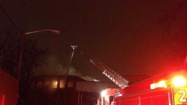 The fire started around 11 p.m. Monday at the old Myrtle Desk building at the corner of West Green Drive and Taylor Avenue.