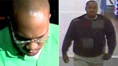 Left: Michael Brown. Right: Surveillance image of toe sucking suspect.