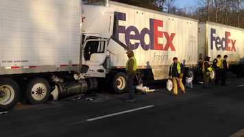 A crash involving two tractor-trailers Wednesday morning shut down Interstate 77 south in Surry County, near the weigh station. WXII's William Bottomley sent us these photos.