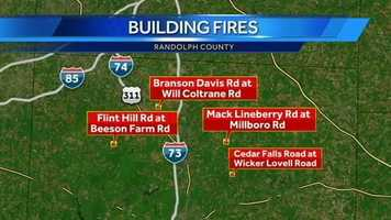 The fires were on Branson Davis Road at Will Coltrane Road, Flint Hill Road at Beeson Farm Road, Mack Lineberry Road at Millboro Road, Cedar Falls Road at Wicker Lovell Road and on Jess Smith Road.