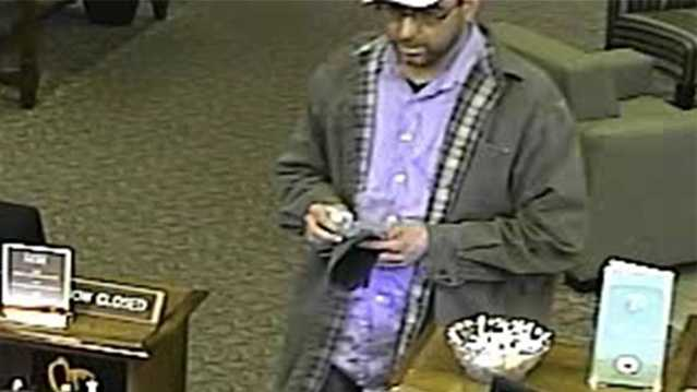Surveillance image of attempted bank robbery suspect at Bank of North Carolina in Asheboro