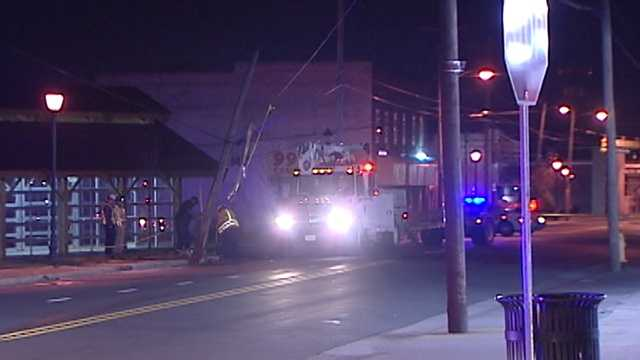 Taxi hits utility pole in Winston-Salem