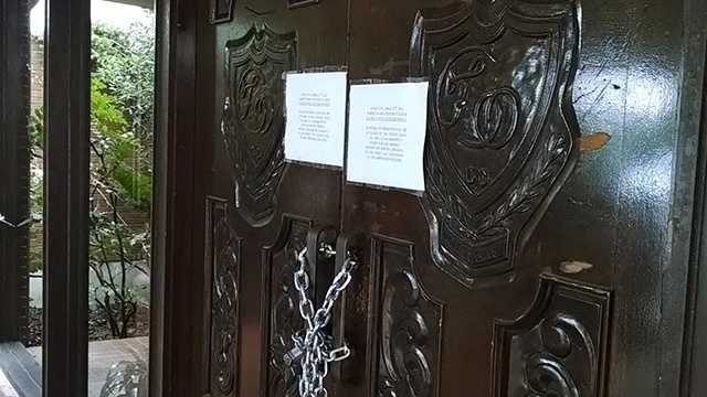 A notice posted to the chained-shut doors of Forest Oaks County Club Tuesday said the club was closed until further notice.