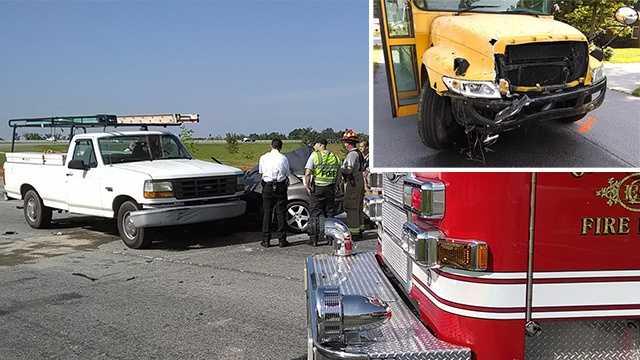 School bus crash on I-73 off-ramp 051414