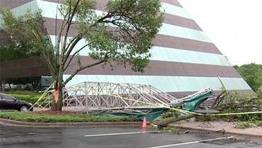 Damage from weak tornado at Charlotte office building