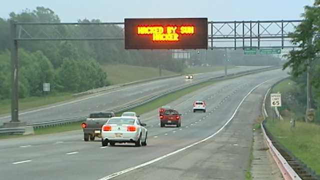 Hacked NCDOT message board on Highway 421 in Winston-Salem