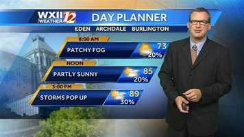 Here is the Wednesday day planner for the Piedmont. | Click here to watch Brian's forecast.