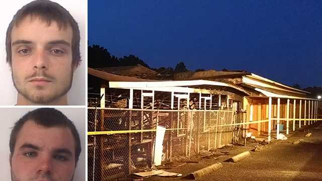 Ryan Hege (top left) and Samuel Watson (bottom left) are charged in connection with a suspected arson at Arcadia Nursery and Garden Center (right).